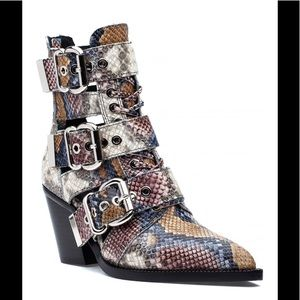 Jeffery Campbell Caceres  snake print boots 8